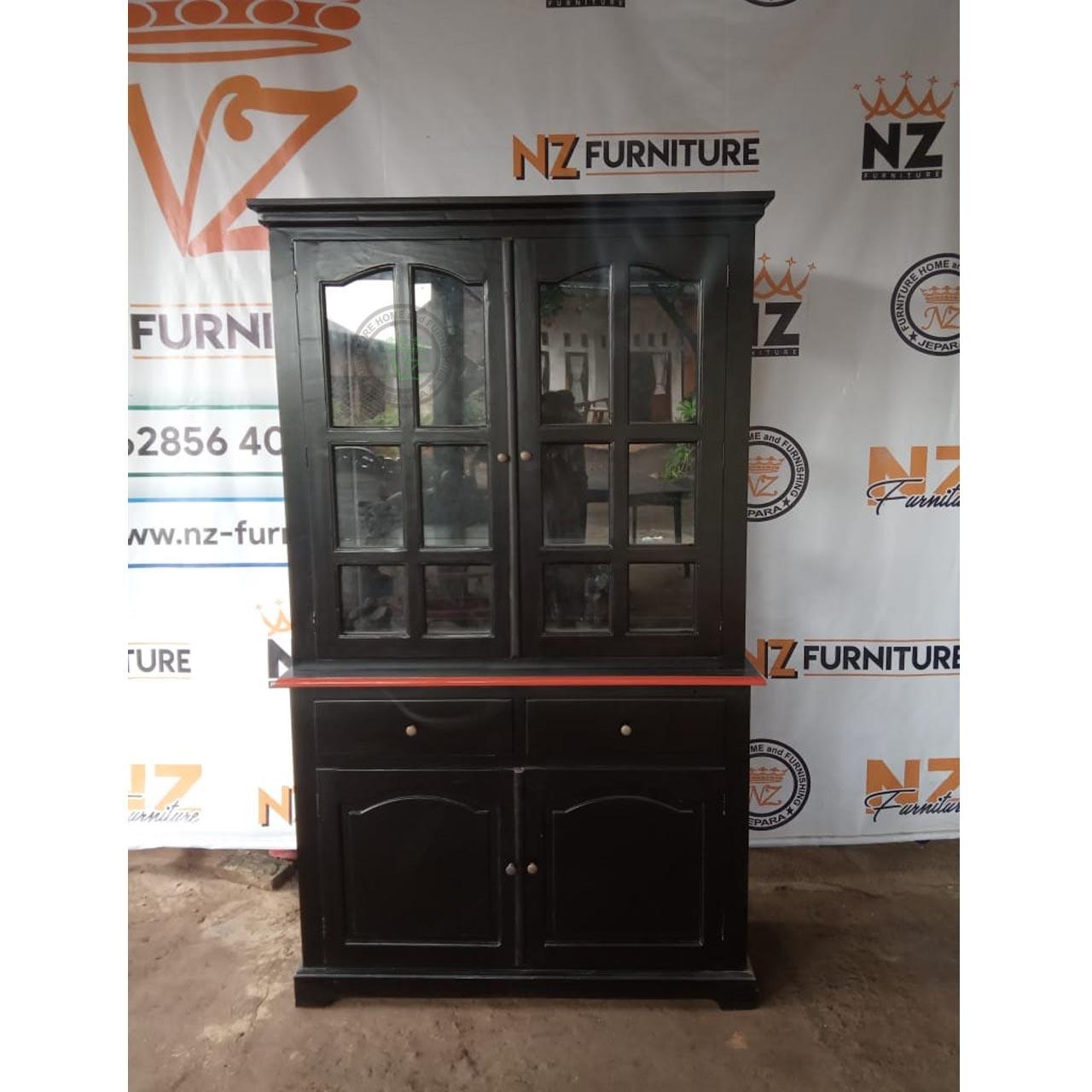 Lemari Kaca Terbaru 2020 - Harga Murah   NZ Furniture Jepara