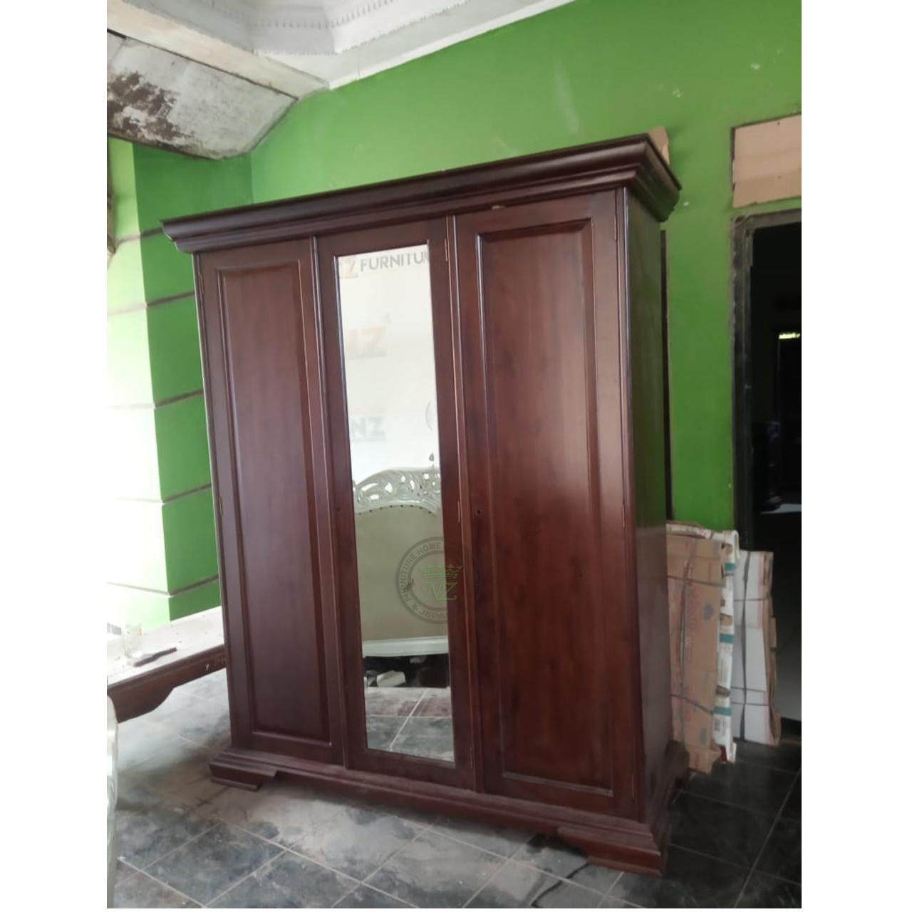 Lemari 3 Pintu Kayu Jati Harga Terbaru 2020 Nz Furniture Jepara Harga lemari 3 pintu